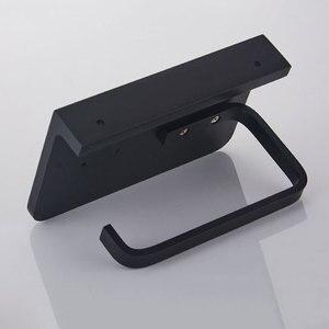 Image 5 - Bathroom Toilet Paper Holder with Mobile Phone Storage Shelf, Tissue Holder Paper Roll Dispenser Wall Mounted Black/Brushed