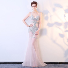 See Through Clubbing V-neck Mermaid Floor-length Tulle Evening Dress Beaded Women Long Dresses Sexy Elegant