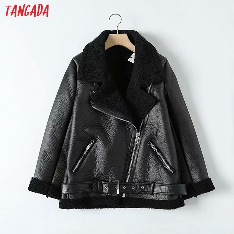 Tangada Women beige fur faux leather jacket coat with belt turn down collar Ladies 2019 Winter