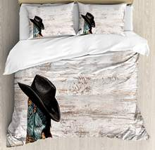 Edredón occidental Set tradicional Rodeo Cowboy Hat y Cowgirl botas Retro Grunge Fondo arte foto decorativa 3 piezas cama(China)
