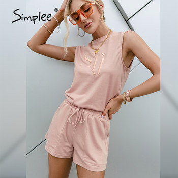 Simplee Light Pink Letter Print Two-piece Suit Casual High Street Summer Women Short Sets 2021 Fashion Sleeveless Top Shorts Set 1