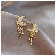 Anenjery yıldız püskül küpe kadınlar için altın renk küpe oorbellen pendientes S-E752