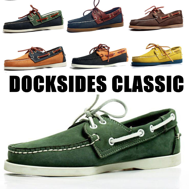 Men Genuine Suede Nubuck Leather Driving Shoes,Docksides Classic Boat Shoe,Brand Design Flats Loafers For Men Women A013
