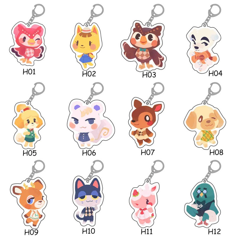 Animal Crossing Keychain Fashion Jewelry Accessories Cute Shaped Pendants Keyring
