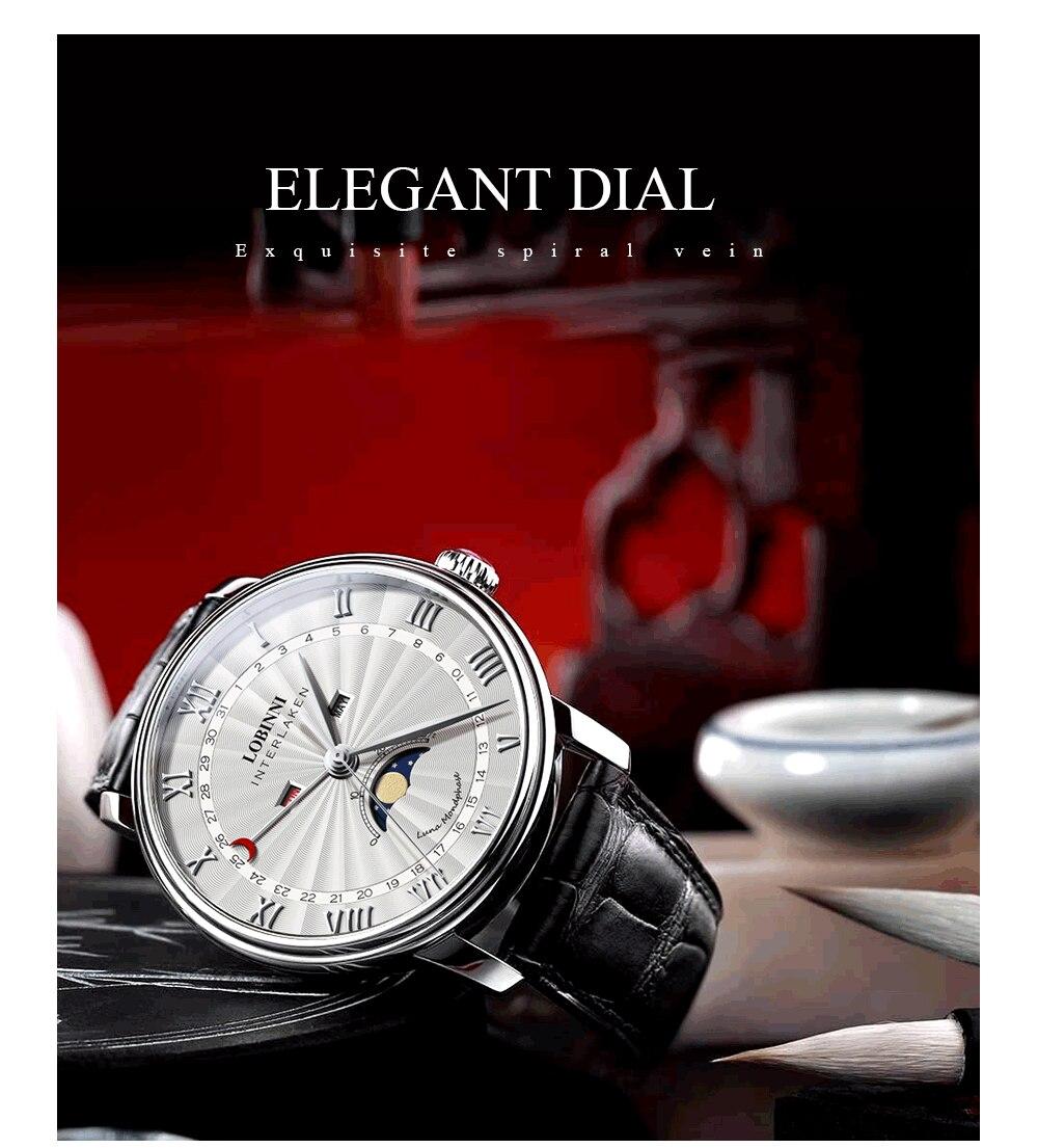 H18f5daa10bba49bda37b0f767c3728087 Switzerland LOBINNI Men Luxury Brand Quartz Watch Men Sapphire Waterproof Moon Phase Japan Quartz Movement Male Wristwacth