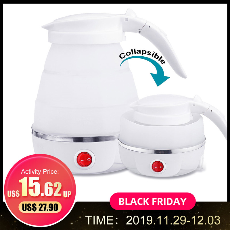 Electric Kettle Silicone Travel Mini Foldable Electric Kettles 220V 680W Portable Water Boiler Collapsible Camping Kettle 600ml