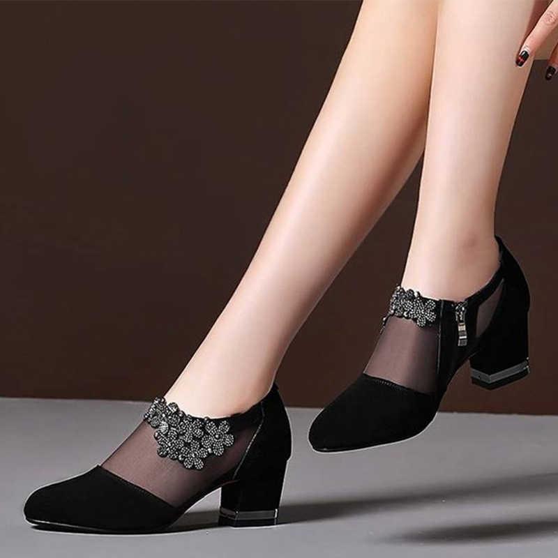 Kadınlar kristal örgü Zip dantel sandalet kadın yüksek topuklu bahar kadın ayakkabı klasikleri katı platformu sandalet bayanlar parti ayakkabı 2020