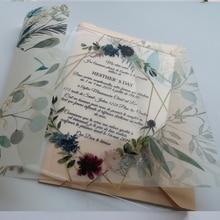 Горячая Распродажа Заказная персонализированная печать прозрачная акриловая Свадебная пригласительная карта с бархатной бумажной оберткой
