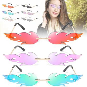 Sunglasses Fire Rimless Wave Sunglasses Fire Flame Sunglasses Streetwear Car Driving Glasses Trending Narrow Fashion UV 400 Eyew image