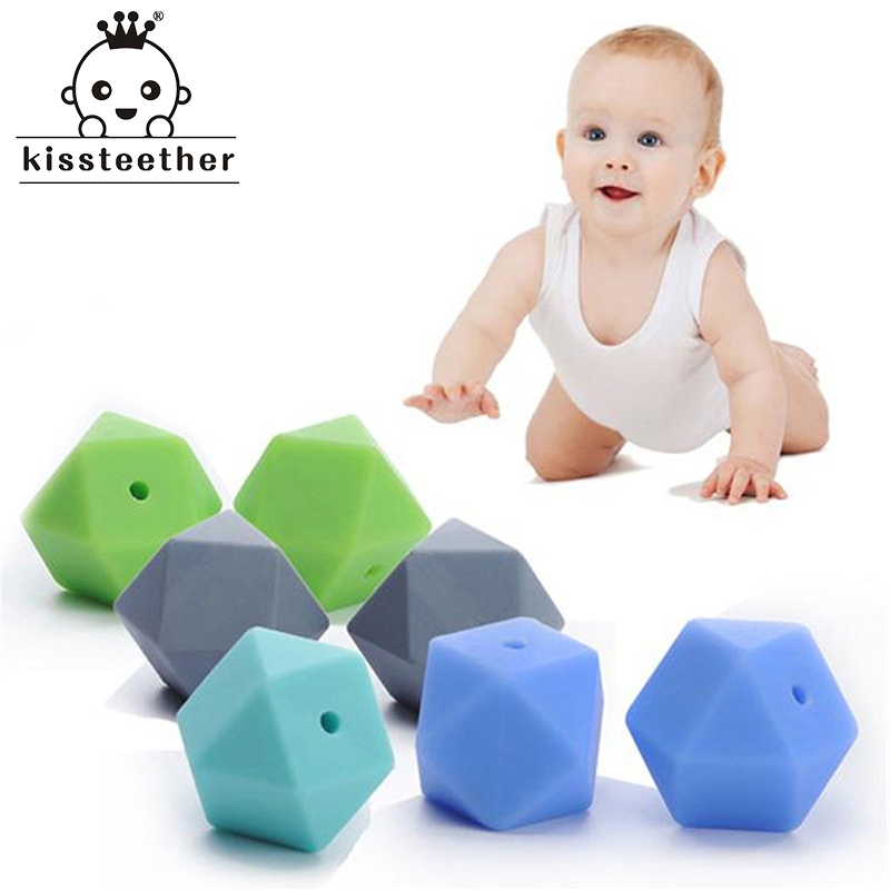 10pcs Silicone Beads For Teether Mix Colors 17mm Geometric/Hexagon DIY Chewing Jewelry Teethers Necklace/ Bracelet Baby Teether