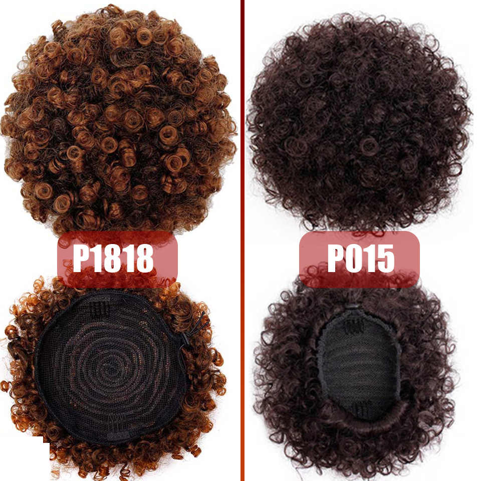 High Puff Afro Curly Wig Ponytail Drawstring Short Afro Kinky Pony Tail Clip in on Synthetic Hair Bun Hair Extensions