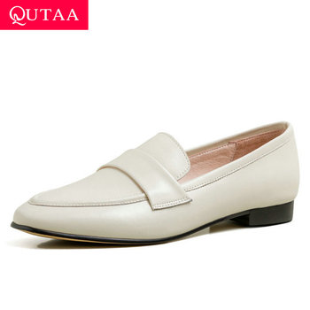 QUTAA 2020 Square Low Heel Casual Spring Women Shoes Round Toe Concise Ladies Pumps Cow Leather Slip on Single Shoes Size 34-39