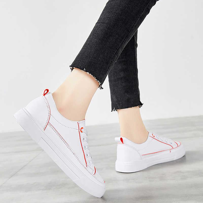 Zapatos informales de verano para mujer, zapatillas planas con cordones para primavera para mujer, Zapatos vulcanizados de cuero blanco a la moda para mujer, nuevos Zapatos VT1238