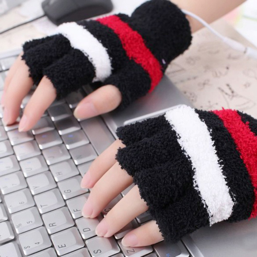 New Striped Unisex Men Women Warm Magic Knitted Stretch Elastic Glove Mitten Half Finger Fingerless Thick Gloves For Winter