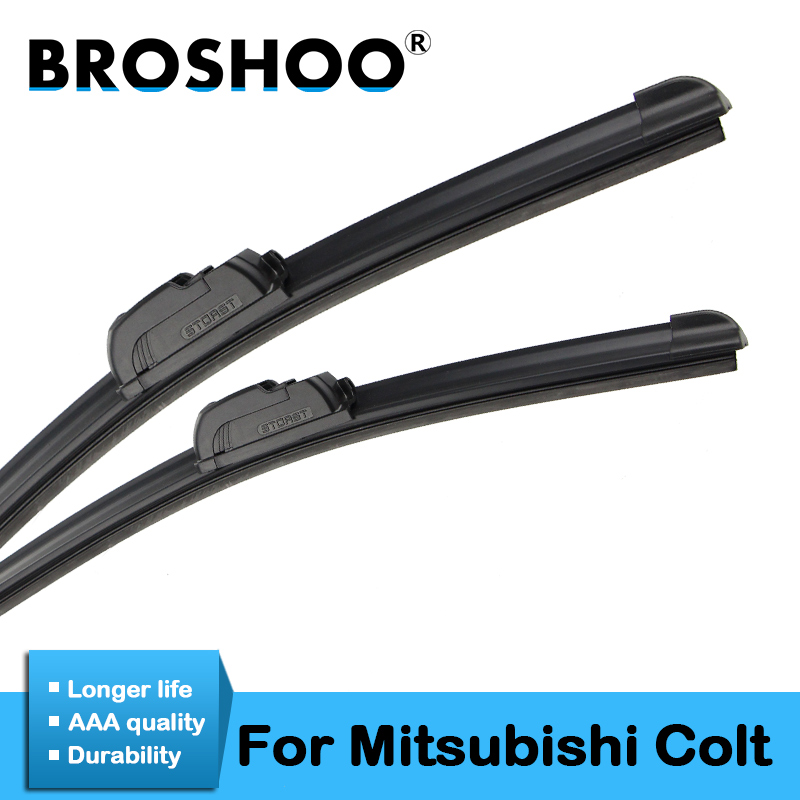 BROSHOO Auto Wiper Blades For Mitsubishi Colt 3 Door/<font><b>5</b></font> Door Fit Standard Hook Arm <font><b>2004</b></font> 2005 2006 2007 2008 2009 2010 2011 2012 image
