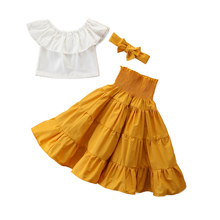2-7 Year Summer Kid Baby Girls 3Pcs Clothes Sets Off Shoulder White Crop Tops + Yellow High Waisted Dress Headband Outfits(China)