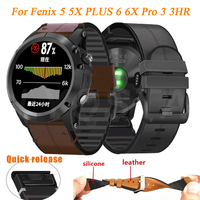 Für Garmin Fenix 6 6X Pro 5 5X Plus 3/3HR Armband Quick Fit 26 22mm Silicagel Leder uhr Strap Forerunner 935/945 Armband