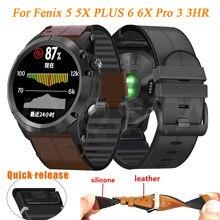 Para garmin fenix 6 6x pro 5 5x plus 3/3hr pulseira ajuste rápido 26 22mm silicone couro pulseira de relógio forerunner 935/945 pulseira