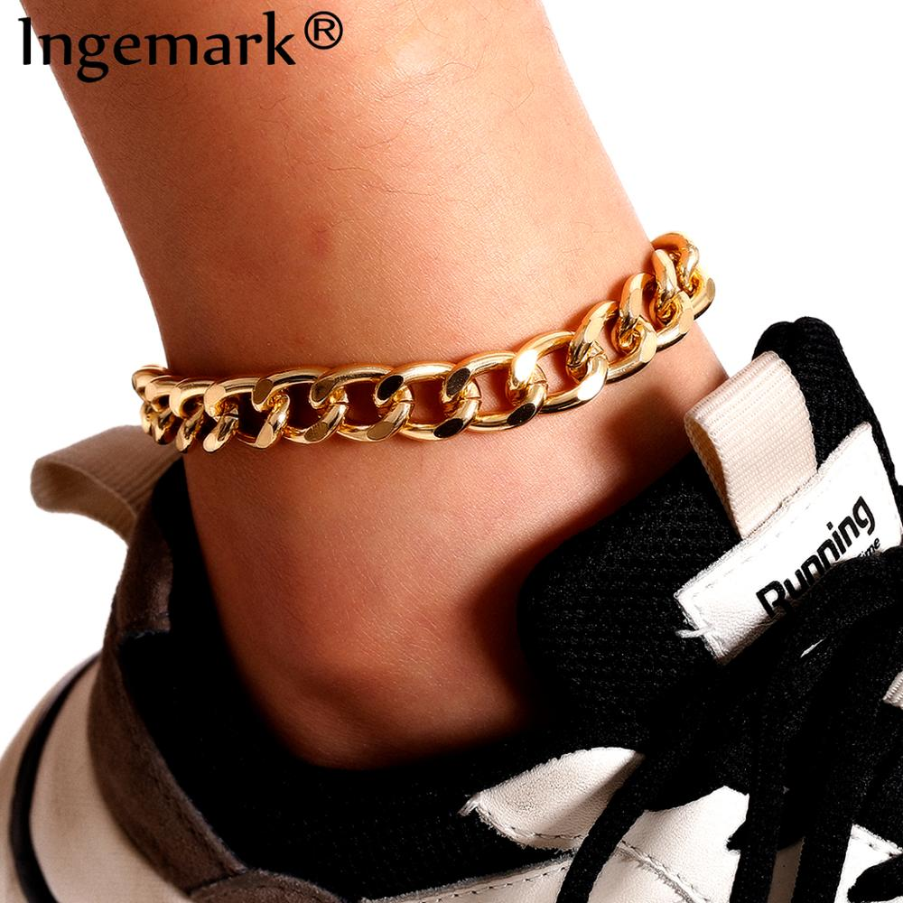 Boho High Quality Cuba Link Chain Anklet for Women Men Ankle Summer Beach Gold Color Shoe Sandals Accessories Punk Foot Jewelry