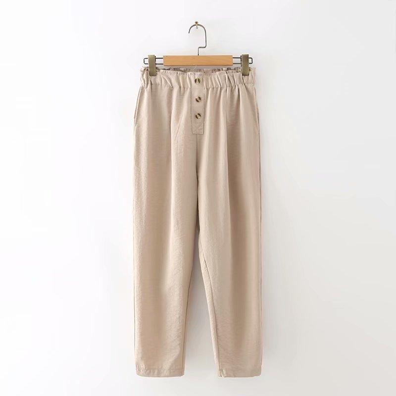 Plus size Khaki gray black button women linen ankle length pants 2021 spring summer casual ladies haren pants female trousers