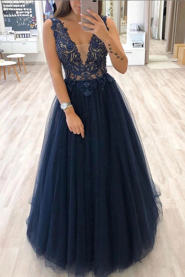 Robe De Soiree Glittery Tulle Long Prom Dresses 2020 Lace Appliques Formal Gowns A-Line V-Neck вечерние пла Navy suknie wieczoro