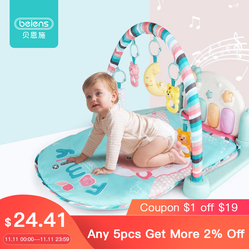 Beiens Baby Play Mat 3 In 1 Baby Gym Rattles Toys For Children Piano Rug Baby Crawling Mat Educational Infant