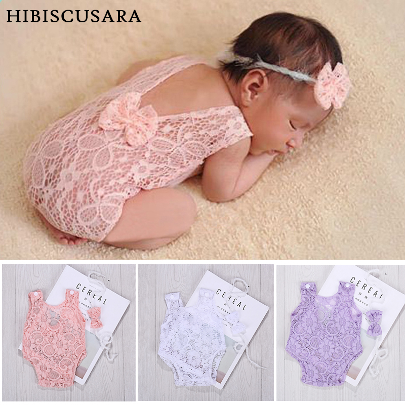 Lace Baby Rompers Newborn Infant Photography Clothes With Bow Headband Bebe Girls Photo Clothing Jumpsuit Costumes