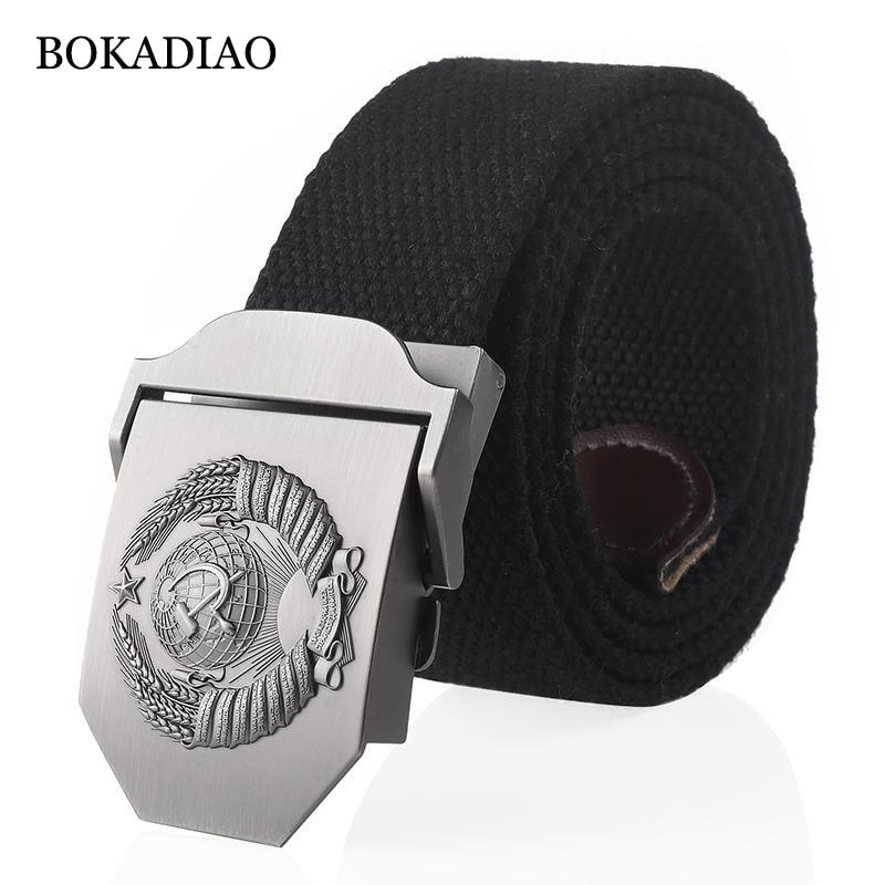 BOKADIAO Men&Women Canvas Belt 3D Soviet National Emblem Metal Buckle Jeans Belt CCCP Army Tactical Belts For Men Military Strap