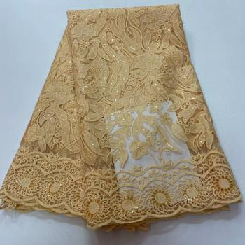 Latest French Nigerian Lace Fabrics High Quality Tulle African Lace Fabric for Wedding sequins  French Tulle Lace     RFMA251