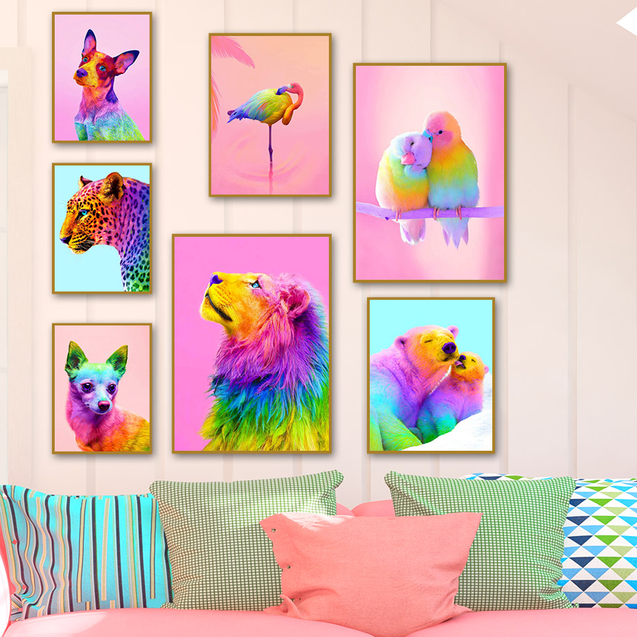 Colorful Lion Tiger Bear Flamingo Dog Wall Art Canvas Painting Nordic Posters And Prints Wall Pictures For Living Room Decor image