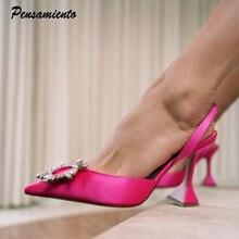 Zapatos de tacón alto con cristales para mujer, calzado de lujo, cómodo, triangular, para fiesta y boda, para verano, 2021