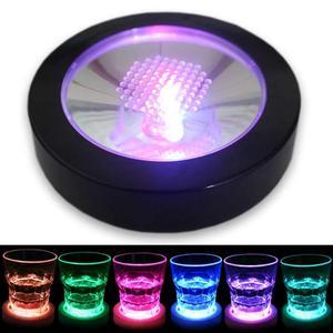 Светодиодный светильник подстаканники для напитков, стеклянная бутылка, коврик для чашки, красочные пеленальные вечерние коврики для клуб...
