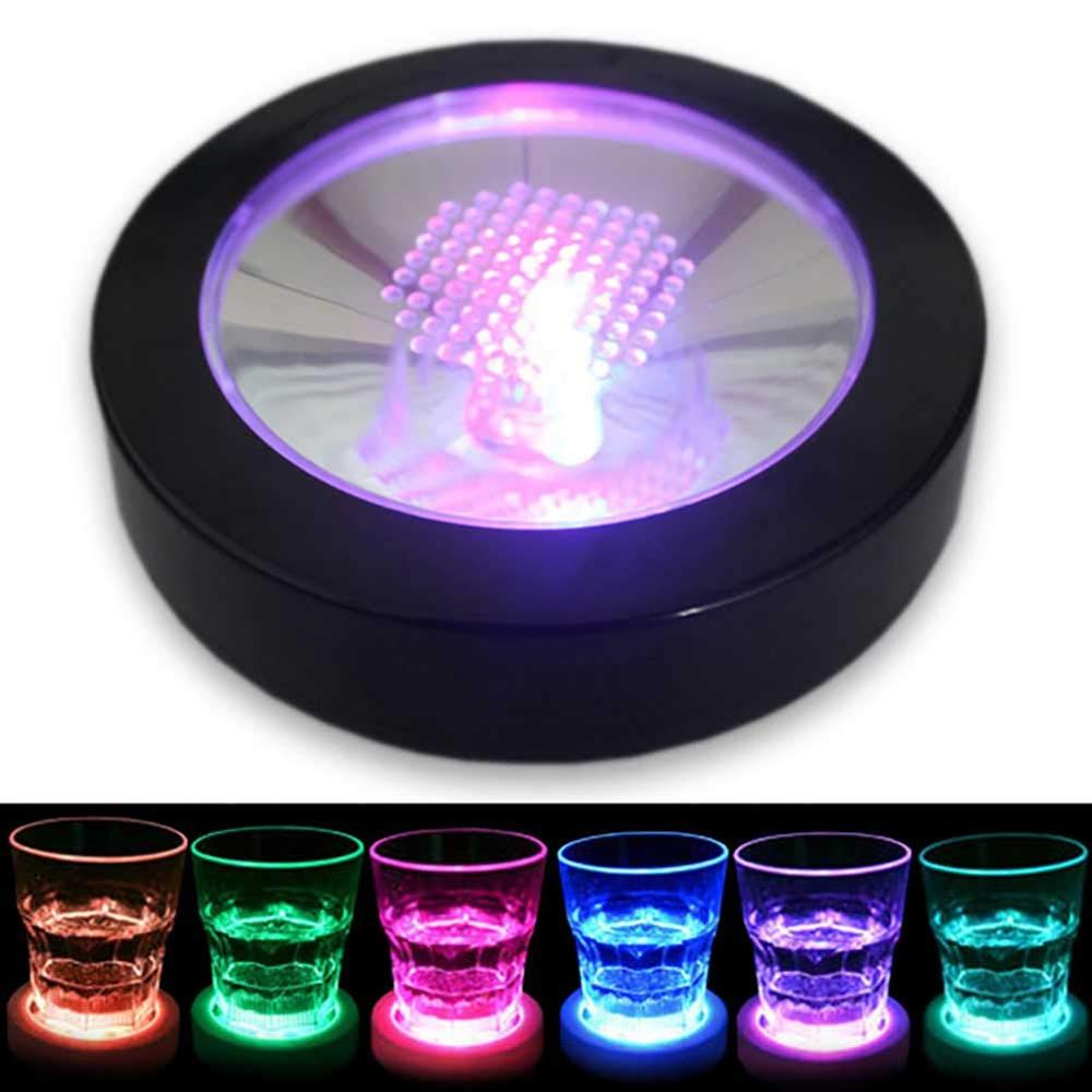 LED Light Coasters Drink Glass Bottle Cup Mat Colorful Changing Bar Party Club Mats Creative Decoration Party Supplies