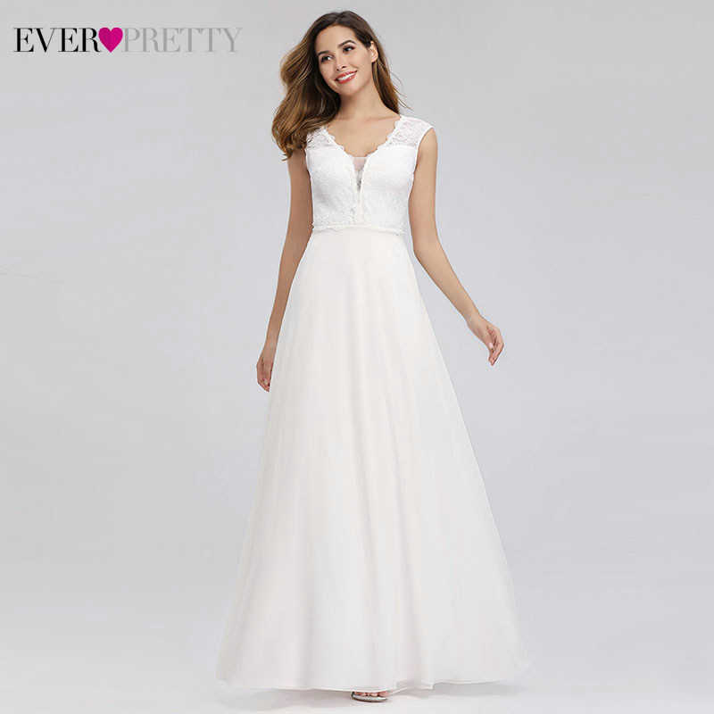 Elegant Lace Wedding Dresses Ever Pretty EP00811WH A-Line V-Neck Simple Beach Style Formal Bride Dresses Vestido De Novia 2020