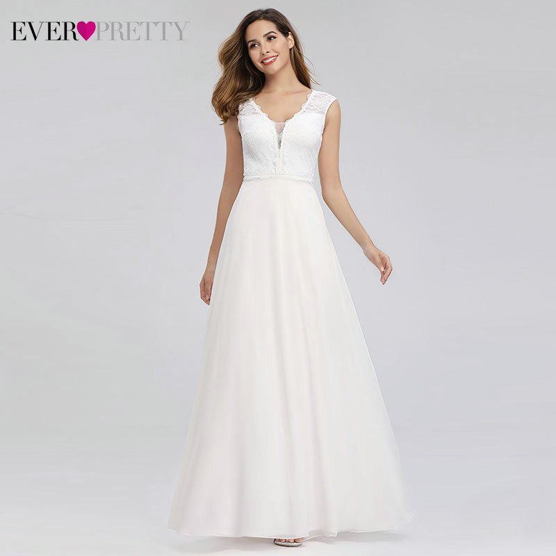 Elegant Lace Wedding Dresses Ever Pretty EP00811WH A Line V Neck Simple Beach Style Formal Bride Dresses Vestido De Novia 2019-in Wedding Dresses from Weddings & Events