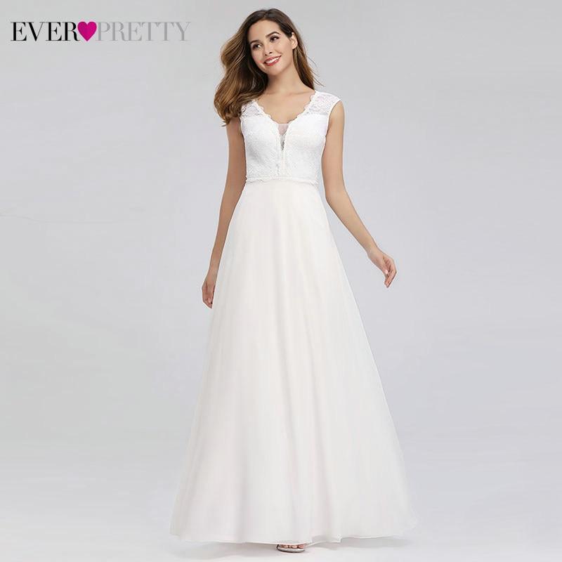 Elegant Lace Wedding Dresses Ever Pretty EP00811WH A-Line V-Neck Simple Beach Style Formal Bride Dresses Vestido De Novia 2020