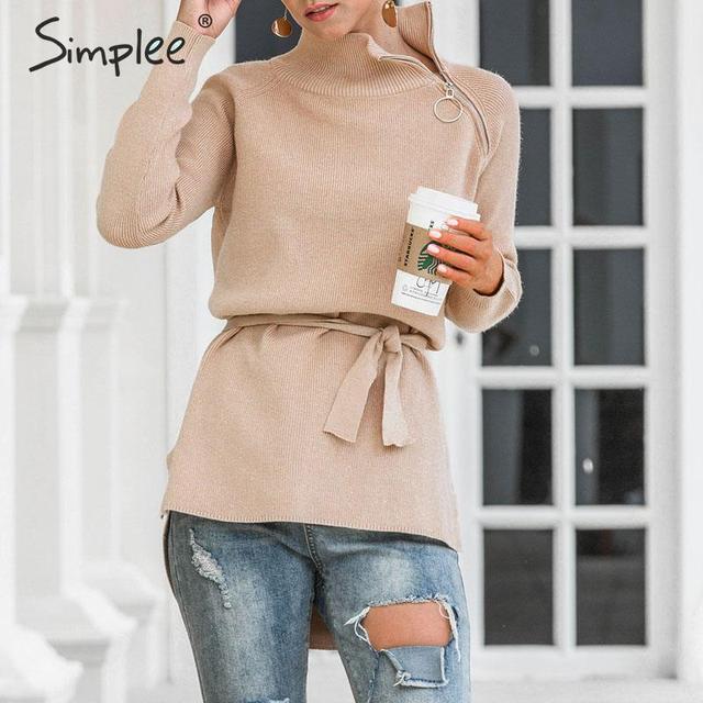 Simplee Elegant bow tie turtleneck sweater women Zipper neck autumn winter knitted female pullover sweater Office ladies jumper
