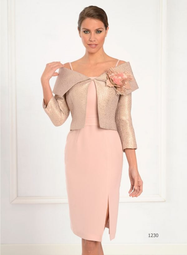 tailor shop custom made mother of the bride dress peach color dress with wide collar  brocade jacket dresses mother groom