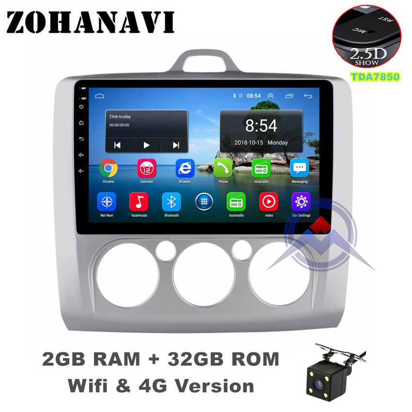 ZOHANAVI 2.5D Screen Android 9.0 Car radio multimedia player For Ford Focus 2004 2006 2007 2008 2009 2011 DVD GPS Navigation