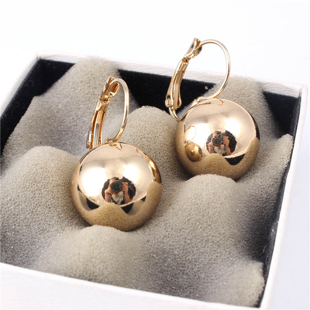 1 Pair Gold Silver Plated Earrings Fashion Jewelry Big Round Ball Pendant Statement Earrings for Women Gifts Wedding Accessory(China)