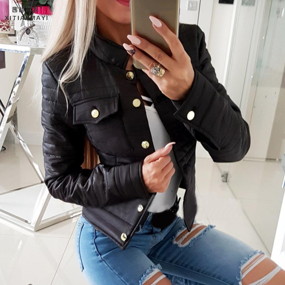 Autumn Winter New Women Outwear Coat Basic Jackets Female Winter Cotton Coats Pockets Slim Fit Black Short Jackets  D30
