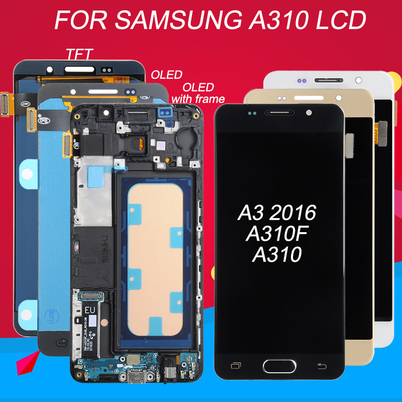 Dinamico For Samsung Galaxy A310 LCD A310F Display Touch Panel Screen Digitizer Assembly A3 2016 LCD With Frame Free Shipping(China)