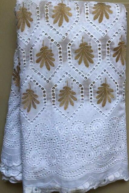 Encaje de gasa suizo con diseño de algodón puro en Suiza con piedras, tela de encaje seco africano, tela nigeriana de alta calidad para boda HLL4570
