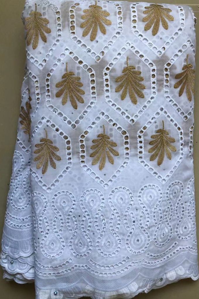 Pure Cotton Design Swiss Voile Lace In Switzerland With Stones 