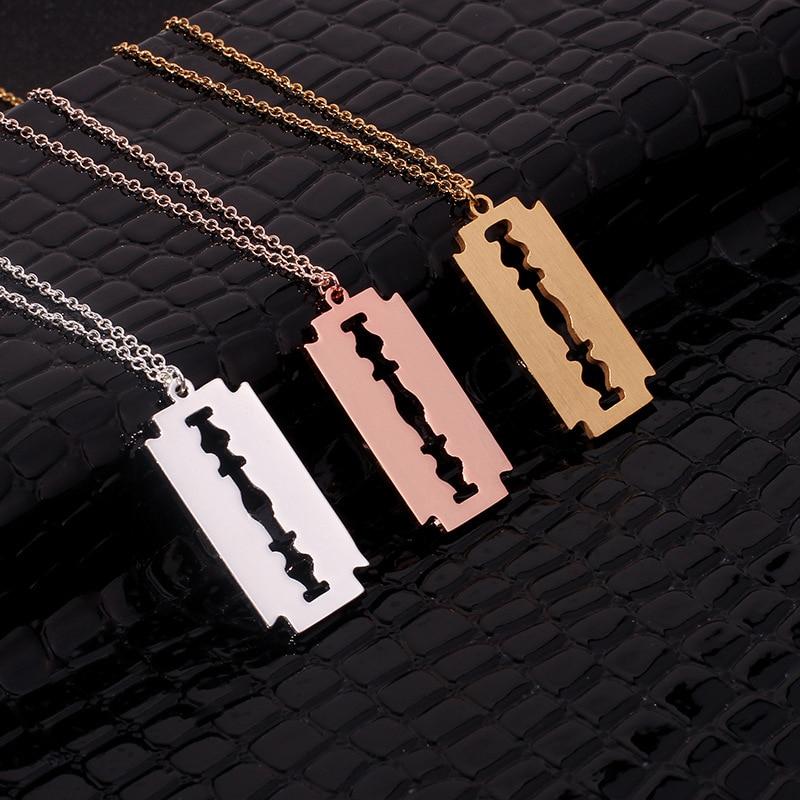Hiphop Punk Stainless Steel Razor Blades Pendant Necklaces Men Jewelry Shaver Shape Necklaces Rock Blade Women Collares Hot