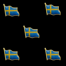5 Pieces Sweden Collectible Metal Pin United Nations Flag Badge for Clothing Lapel Ornament sweden waving friendship flag metal lapel pin united nations badge pin back tie badge
