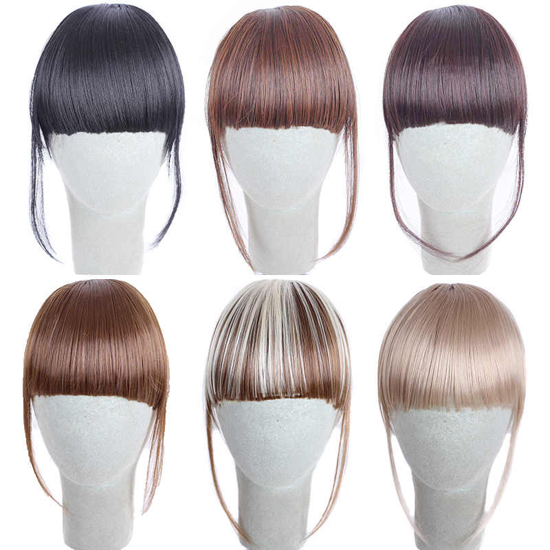 Charmant Leuke Korte Nette Pony Clip Op Front Neat Bangs Fringe Clip In Hair Extensions Steil Haar Pruik Kant Haar ornament