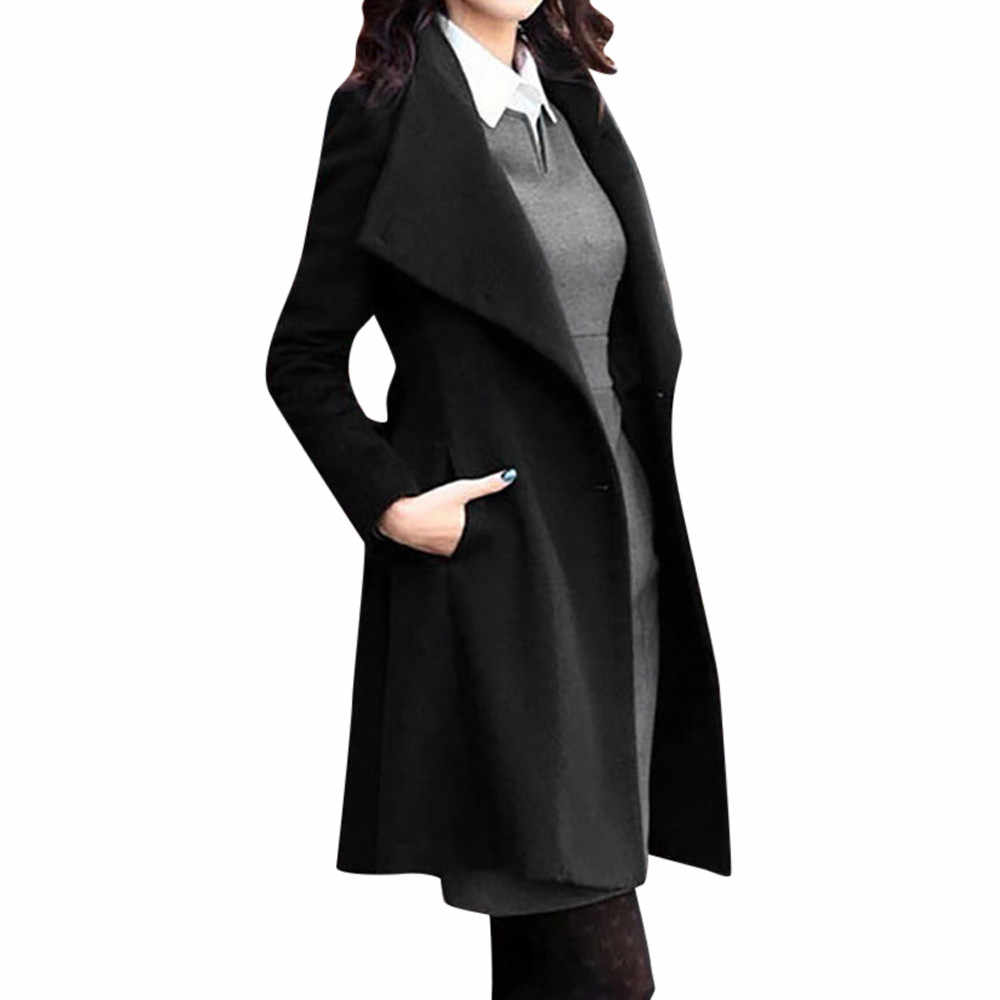 Womens Winter Revers Wollen Jas Trench Jacket Lange Mouwen Overjas Uitloper vrouwen Knop Riem Wol Top Jas