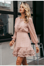 Elegant Long Sleeve Embroidery Evening Party Dress