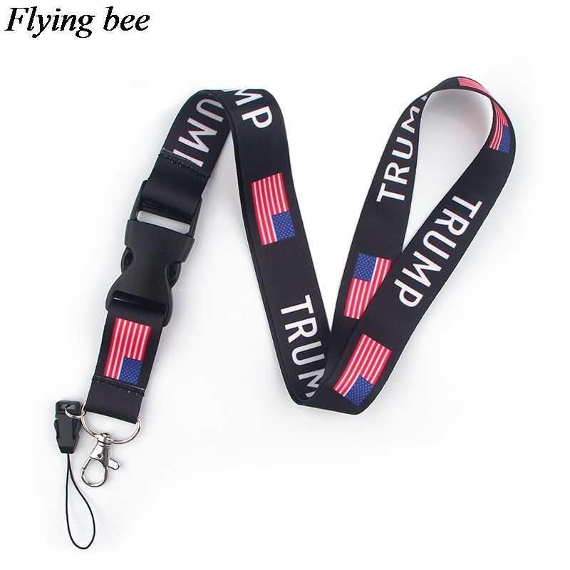 Flyingbee Trump lustige Keychain Cartoon Telefon Lanyard Frauen Mode Strap Neck Lanyards für ID Karte Telefon Tasten X0590